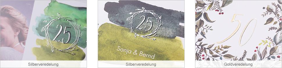 Grusskarten zur Silberhochzeit und Goldenen Hochzeit gestalten