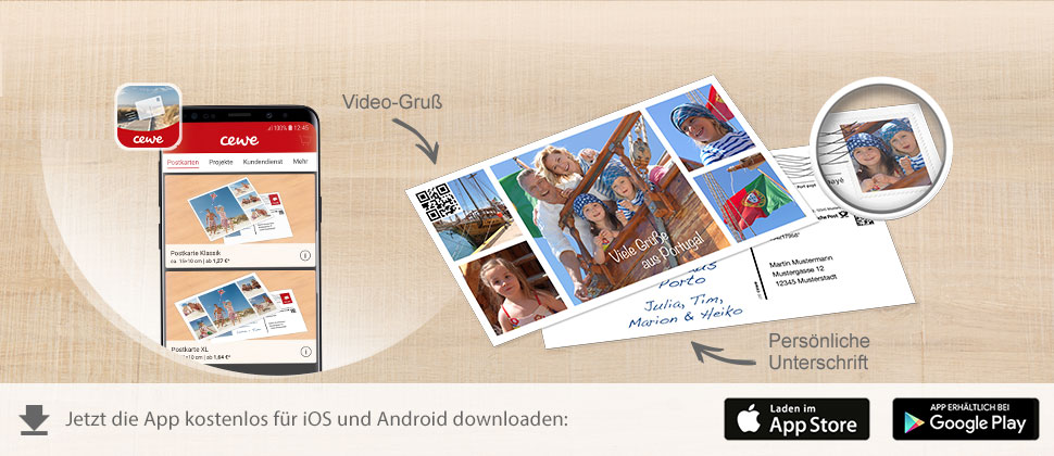 Mit der CEWE App Fotogrusskarten direkt versenden