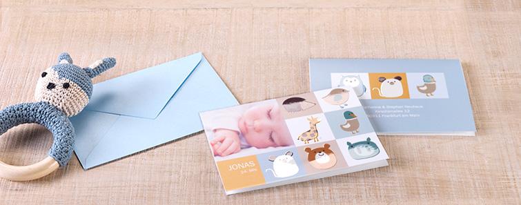 Die Geburt Ihres Kindes eigent sich ideal, um mit Grusskarten die frohe Botschaft zu verkünden